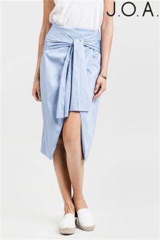 J.O.A Split Front Tie Waist Midi Skirt
