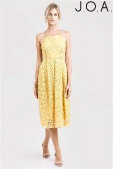 J.O.A All Over Lace Midi Dress