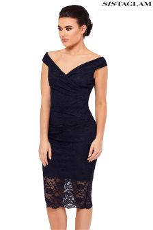 Sistaglam Lace Bardot Bodycon Dress