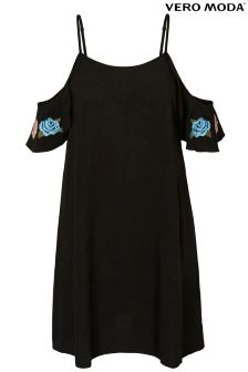 Vero Moda Embroidered Cold Shoulder Swing Dress