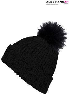 Alice Hannah Faux Fur Pom Pom Chunky Knit Hat