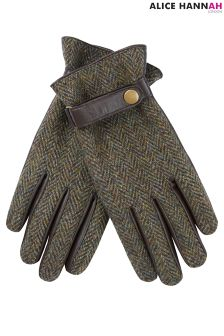 AH London Harris Tweed And Leather Gloves