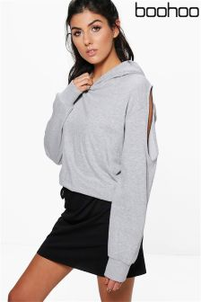Boohoo Cold Shoulder Loop Back Hoody