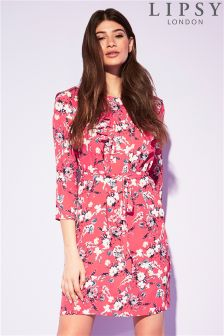 Lipsy Floral Print Ruffle Dress