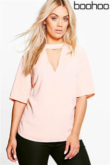 Boohoo Plus Open Neck Blouse