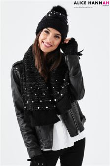Alice Hannah Pearl Embellished Knitted Hat, Handwarmer & Scarf Set