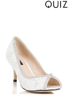 Quiz Sequin Lace Diamanté Trim Peep-Toe Heeled Court