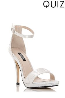Quiz Jacquard Barely There Platform Stiletto Heeled Sandal