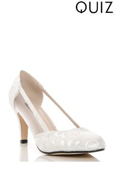 Quiz Jacquard Cover Toe Low Heeled Court With Mesh Sides