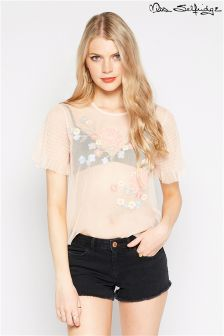 Miss Selfridge Embellished Mesh Tee