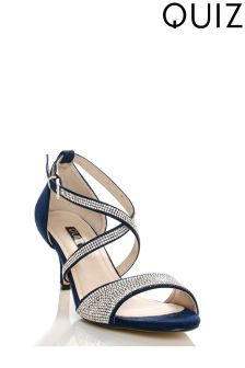 Quiz Suedette Diamanté Cross Strap Low Heel Sandal