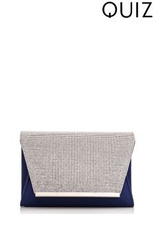 Quiz Envelope Clutch Bag With Diamanté Flap