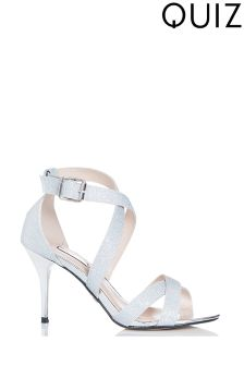 Quiz Shimmer Cross Strap Mid Heel Sandals