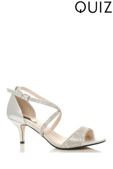 Quiz Shimmer Diamanté Cross Strap Low Heel Sandals