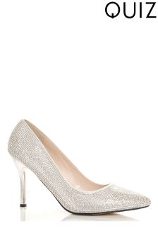 Quiz Diamanté Covered And Pointed Court Heels