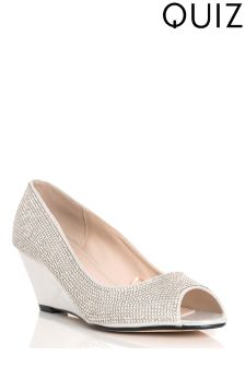 Quiz Diamanté Covered Shimmer Low Heel Wedges