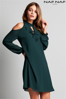 Naf Naf Cold Shoulder Shift Dress