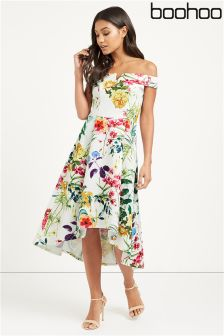 Boohoo Floral Print Dip Back Dress