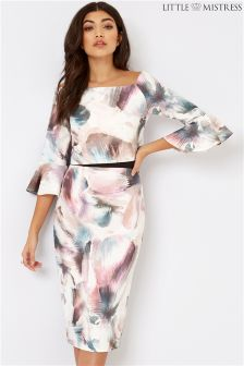 Little Mistress Print Flute Sleeve Dress