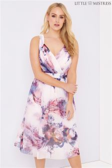 Little Mistress Curve Floral Print Midi Dress