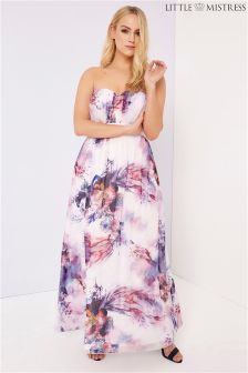 Little Mistress Curve Floral Bandeau Maxi Dress
