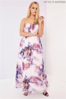 Little Mistress Curve Floral Bandeau Maxi Dress