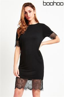 Boohoo Lace Trim T-Shirt Dress