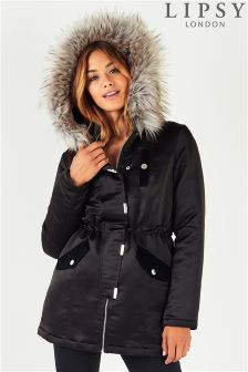 Lipsy Satin Velvet Pocket Detail Parka