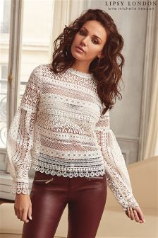 Lipsy Loves Michelle Keegan Lace Balloon Sleeve Blouse