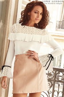 Lipsy Love Michelle Keegan Daisy Lace Frill Blouse