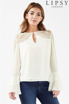 Lipsy Beaded Cold Shoulder Frill Sleeve Blouse