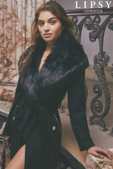 Lipsy Faux Fur Wool Blend Coat