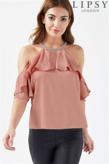 Lipsy Cold Shoulder Beaded Neck Top