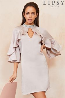 Lipsy Embellished Neck Satin Shift Dress