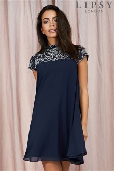 Lipsy High Neck Embellished Swing Dress