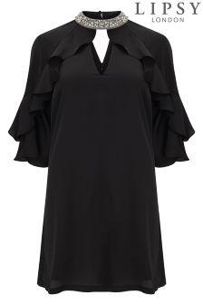Lipsy Curve Embellished Neck Satin Shift Dress