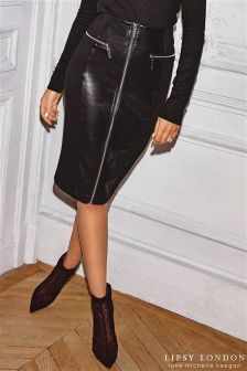 Lipsy Loves Michelle Keegan Zip PU Panel Pencil Skirt