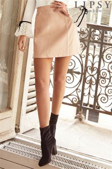Lipsy PU Studded Zip Mini Skirt