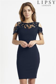 Lipsy Loves Michelle Keegan Cold Shoulder Sequin Detail Bodycon Dress