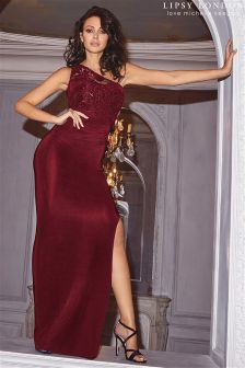Lipsy Loves Michelle Keegan Red One Shoulder Sequin Detail Maxi Dress