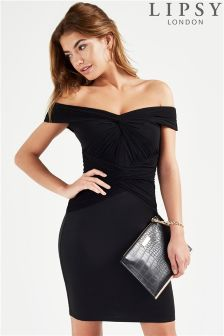Lipsy Ruched Bardot Bodycon Dress
