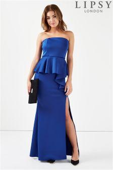 Lipsy Bandeau Peplum Maxi Dress