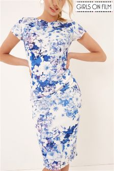 Girls On Film Printed Ruched Bodycon Dress