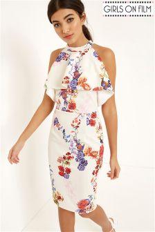 Girls On Film Printed Ruffle Detail Halterneck Dress