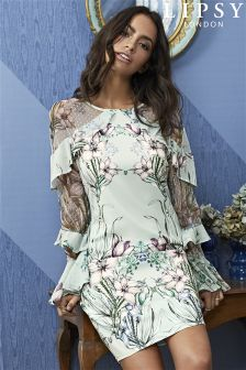 Lipsy Printed Ruffle Sleeve Shift Dress