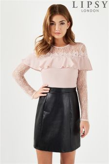 Lipsy 2 In 1 PU Lace Long Sleeve Dress