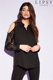 Lipsy Lace Cold Shoulder Shirt