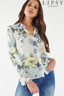 Lipsy Floral Print Stripe Shirt