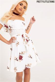 PrettyLittleThing Floral Bardot Swing Dress