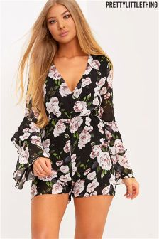 PrettyLittleThing Floral Print Wrap Playsuit